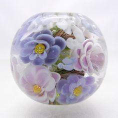 Bousky ROSE FOCAL Lampwork  Bead Periwinkle Lavender by Bousky, $26.00