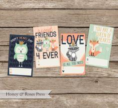 Printable Royal Woodland Valentine's Day Cards  .  Kids Valentines Cards  .  Children's Classroom Valentines  .  Instant Download  .