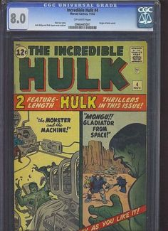HULK #4 CGC 8.0 Origin retold! Jack Kirby cover & art! 1962