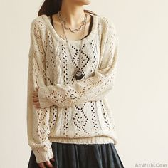 Wow~ Awesome Retro Round Neck Hollow Out Sleeved SweaterCardigan! It only $33 at www.AtWish.com! I like it so much<3<3!