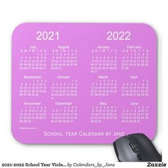 2021-2022 School Year Violet Calendar by Janz Mouse Pad