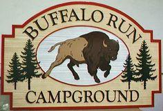 Wholesale Sandblasted HDU Sign for Buffalo Run Campground in Island Park Idaho