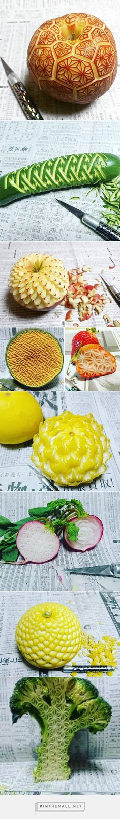 New Elaborate Patterns and Designs Carved on Produce by 'Gaku' | Colossal - created via https://pinthemall.net