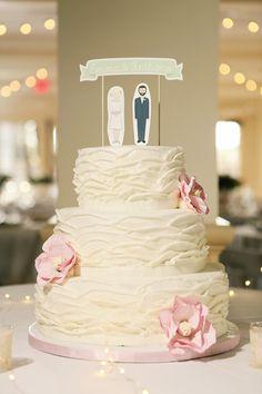 ruffled wedding cake, photo by Tiffany Hughes http://ruffledblog.com/1950s-inspired-auburn-wedding #weddingcake #cakes