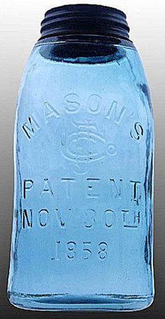 Mason's, CFJ, Patent Nov 30th 1858, Blue, 12 GallonA half-gallon deep ball blue Mason's CFJ Patent Nov