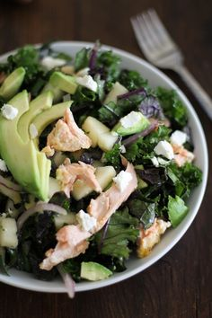 Kale Salad with Salmon, Pears, Goat Cheese, and Orange-Ginger Dressing #letthemeatkale