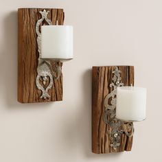 Small Recycled Wood Sconce Candleholders, Set of 2 | World Market