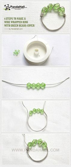 4 Steps to Make a Wire Wrapped Ring with Greenbeads ~ Wire Jewelry Tutorials Handmade Wire Jewelry, Beaded Jewelry, Diy Wire Jewelry Rings, Diy Beaded Rings, Hang Jewelry, Guitar String Jewelry, Handmade Beads, Metal Jewelry, Silver Jewelry