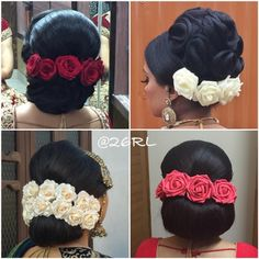 What beautiful large low buns with real flower gajra! Care however should be taken before adopting such hairstyles, as due to it's high static charge, it will cause phlegm to move up in the throat, causing the voice to quaver & a frequent urge to clear the throat. A heavy chabi chhalla with a long & wide hook if inserted at the edge of the pleats of the saree, will reduce this problem as it's hook will activate the acupressure points that act to keep the throat clear.