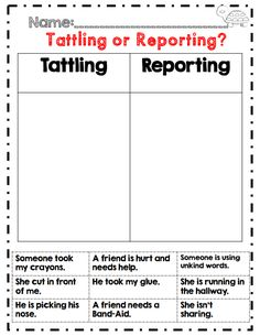 Tattling or reporting..back to school 2nd grade activity
