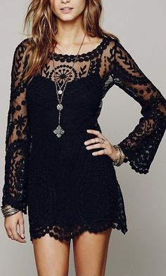 Cheap embroidery dress, Buy Quality lace embroidery dress directly from China dress summer Suppliers: Women Boho Flare Sleeve Black Dress Casual Femininos Crochet Floral Lace Embroidery Dresses Summer Femme Beach Party Vestidos Casual Dresses, Short Dresses, Formal Dresses, Mode Hippie, Hippie Style, Estilo Hippie, Look Boho, Boho Fashion, Womens Fashion