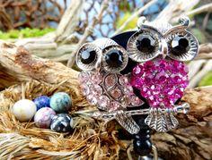Pink Owl Badge Holder  Retractable Badge by BadgeAlleybyGerAnne