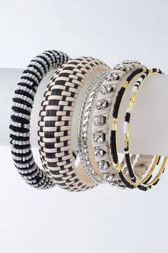 Mixed Set of Bangles-Black & White