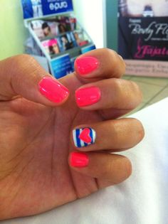 So cute for summer!! My girls would love this nail design and color.