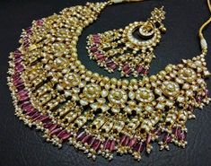 Kundan Bridal Jewelry Store for Indian Wedding Jewelry by Kundanweddingjewelry Indian Jewelry Sets, Indian Wedding Jewelry, Bridal Jewelry Sets, Bridal Necklace, Bridal Jewellery, Indian Bridal, Real Gold Jewelry, Pink Jewelry, Gold Jewellery Design