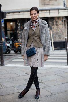 Paris Street Style Miroslava Duma in Double Breasted Coat - 2013 Haute Couture Parisian Street Style - Harper's BAZAAR