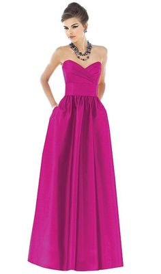 Alfred Sung Peau de Soie Long Bridesmaid Dress D543 by Dessy