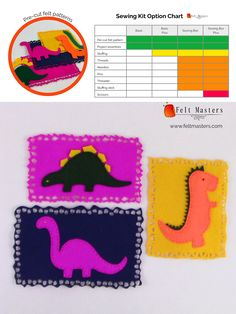 pre-cut felt patterns- sewing kits Sewing Kits, Sewing Box, Sewing Basics, Felt Patterns, Pdf Patterns, Masters, Toys, Master's Degree, Activity Toys