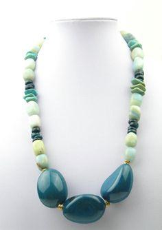 Turquoise, Amazonite, Coconut Rondelles, Tagua by elleandbellejewelry