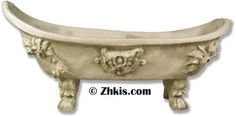 Victorian Bathtub Planter A unique way to keep plants and flowers up off the ground in this large tub planter. Made from durable fiberglass and met for outdoor use in year-round weather. Several finish choices available. Large Garden Planters, Large Tub, Tomatoes, Choices, Bathtub, Victorian, Weather, Stone, Antiques