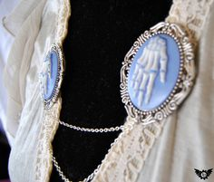 Cameo brooch pair cardigan clips Blue and by InventoriaDesigns, $25.00