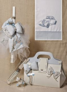 Christening/baptism set - vintage car boy