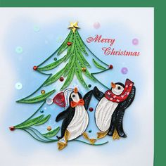 HANCRAFTED RENAISSANCE PAPER QUILLED QUILLING CARD 6x6 PENGUINS & CHRISTMAS TREE