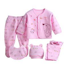 Barato 5 pçs/set Bebê Recém nascido 0 3 M Conjunto de Roupas de Marca Do Bebê Da…