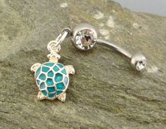 http://www.etsy.com/listing/96923920/turtle-belly-button-ring-turquoise?ref=cat_gallery_5  Cute belly ring