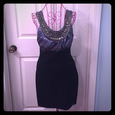 Trixxi Size 3 Party Dress Glamorous fitted party dress, slate blue satin top with beautiful beading, fitted black bottom, very flattering, worn once, perfect condition:)) Trixxi Dresses Midi