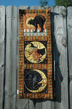 Vintage Inspired Halloween Wall Hanging - Primitive Halloween Banner - Halloween Garland - Cotton Halloween Decoration