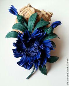 Купить Василек с бутончиками из кожи.Брошь. - синий, василек, цветы из кожи, кожаные цветы