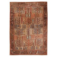 Antique Persian Bakshaish Rug 1870 DIMENSIONS 8 ft. 11 in.Wx12 ft. 7 in.L 272 cmWx384 cmL