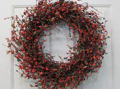 Fall Home Decor  Orange Mix Pip Berry Primitive by Designawreath, $49.95