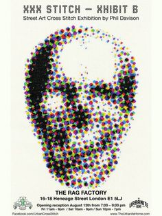 LONDON ART  STREET ART  SKULL ART   Skull Art  London Art Street Art  Tatto Art  Cross Stitch XXX STITCH  Urban Cross Stitch  Phil Davison  Egg Egg Art  Sew  Needle Point