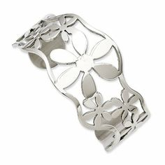 Stainless Steel Polished Flowers Cuff Bangle The Black Bow. $37.00. Open, lightweight floral design. Polished 316L stainless steel. Measures 36mm wide, 7 Inches circumference. Average weight 22.37 grams