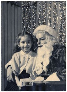 Pictures with Santa! Vintage Christmas Photo at a department store with Santa in Chicago. Circa, 1950...