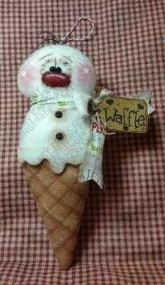 E-Pattern - Two Scoops Snowcone Ornament Pattern - Primitive Doll Ornament E-Pattern - Christmas - Snowman - Snowcone - Ornament Primitive Christmas, Christmas Snowman, Christmas Crafts, Christmas Decorations, Christmas Ornaments, Holiday Decor, Primitive Doll, Christmas Clay, Christmas Carol