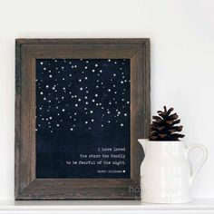 Digital Art Print I Have Loved the Stars Too Fondly To Be Fearful of the Night Poster Navy Blue Stars Modern Galileo Inspired Quote Print on Etsy, $15.00