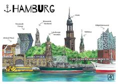 Illustration Hamburg Panorama