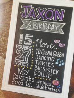 Custom Half Year or Year Birthday Chalkboard // jmpaper Half Birthday, Birthday Board, 2nd Birthday Parties, Birthday Celebration, Birthday Ideas, Birthday Chalkboard, Chalkboard Art, Birthday Pictures, Baby Month By Month