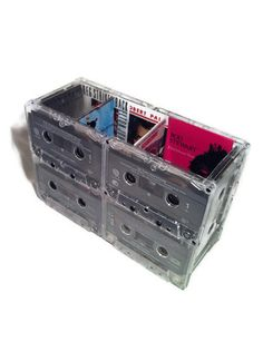 ZZ Top - REM - Rod Stewart - Desk Organizer from Upcycled 80s and 90s Pop / Rock Cassette Tapes.