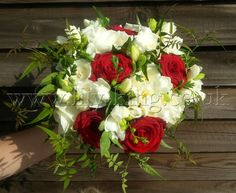 Red Roses and white Freesias Brides Bouquet, by Lily King Weddings