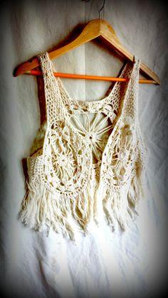 Boho crochet vest, lace waistcoat, festival summer wear, vintage crochet fringed lace vest, sleeveless tank, hippy top $36.19 USD... Got it in this color too!