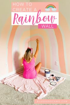 I'm in my third trimester and it's time to get my nursery done! I think this big, bold boho inspired rainbow wall art is just what my little girl's nursery needs! Though it would completely work in a little boy's room if you changed the colors around! Here is my step by step guide to how I created this amazing DIY project! #nurserywalldecor #bohoinspired #stepbystep #nurseryideas #diyproject