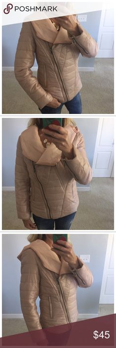 """Blush Color Puffer Jacket Blush Color Puffer Jacket. Super cute and warm! Hooded. Asymmetrical front zip. Side zip pockets. Measurements laying flat: S: 22.5"""" long, 19"""" pit to pit. M: 23.5"""" long, 20"""" pit to pit. L: 24.5"""" long, 21"""" pit to pit. New Boutique Item, with Tags. #BB23 Jackets & Coats Puffers"""