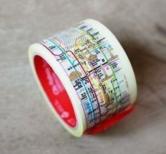 Subway Pattern Tape 2.4 inch - NY Manhattan (adhesive). $15.99, via Etsy.