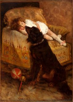 Sleeping child watched carefully by nanny dog. Elizabeth Strong (1855 – 1941, American)
