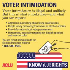 The ACLU prepared this Know Your Rights resource for election season in response to heightened concern regarding voter intimidation at polling places. Polling Place, Early Voting, Right To Vote, I Voted, Political Views, Democratic Party, Economics, Reading, People