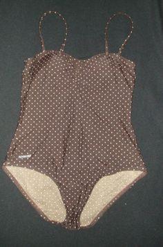 Speedo One-Piece Swimsuit Brown Pink Polka Dot Ladies Size 12 Swimsuit Speedoo